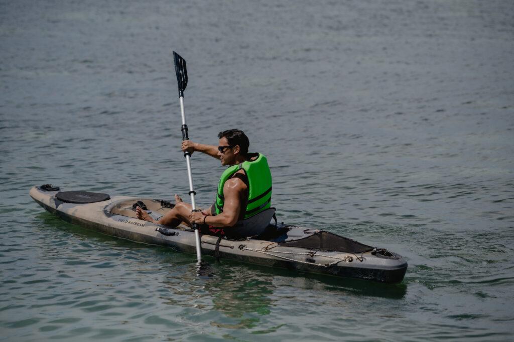 Dad enjoying Kayaking at the sea